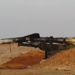A burned surface to air missile at a base near Aleppo